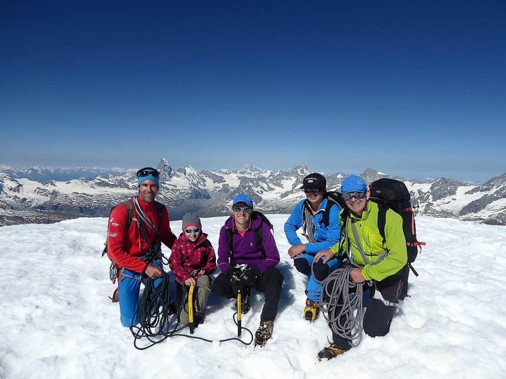 Familienbergsteigen Alphubel Gipfel