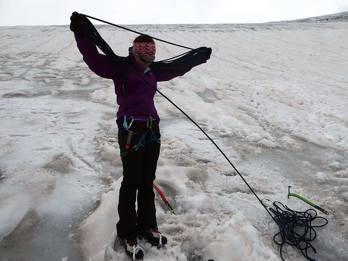 Hochtouren-Kurs mit 4000er Besteigung Seil aufnehmen