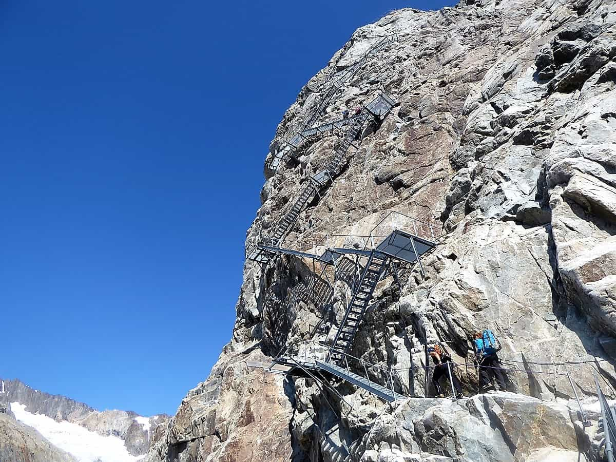 Die Treppe zur Konkordiahütte