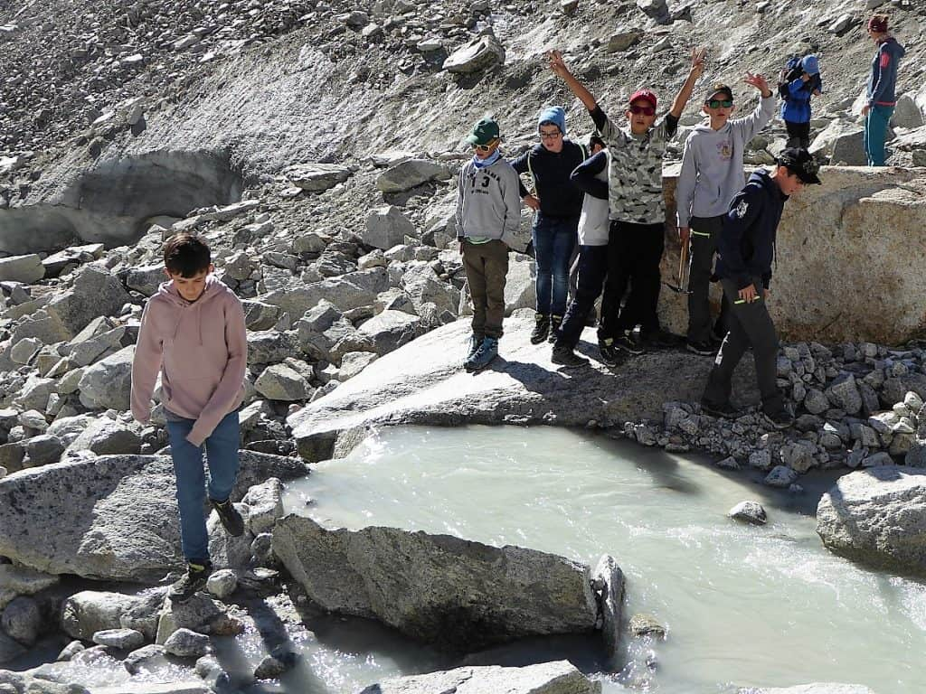Projekt-Woche Alpenlernen Bächlitalhütte Gletscherbach