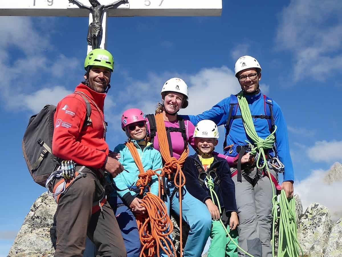 Familien-Bergsteigen Klettern Wiwannihorn